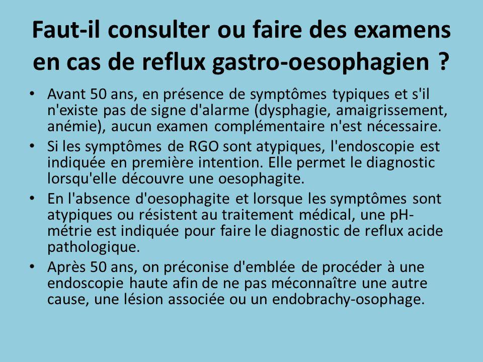 Faut-il consulter ou faire des examens en cas de reflux gastro-oesophagien