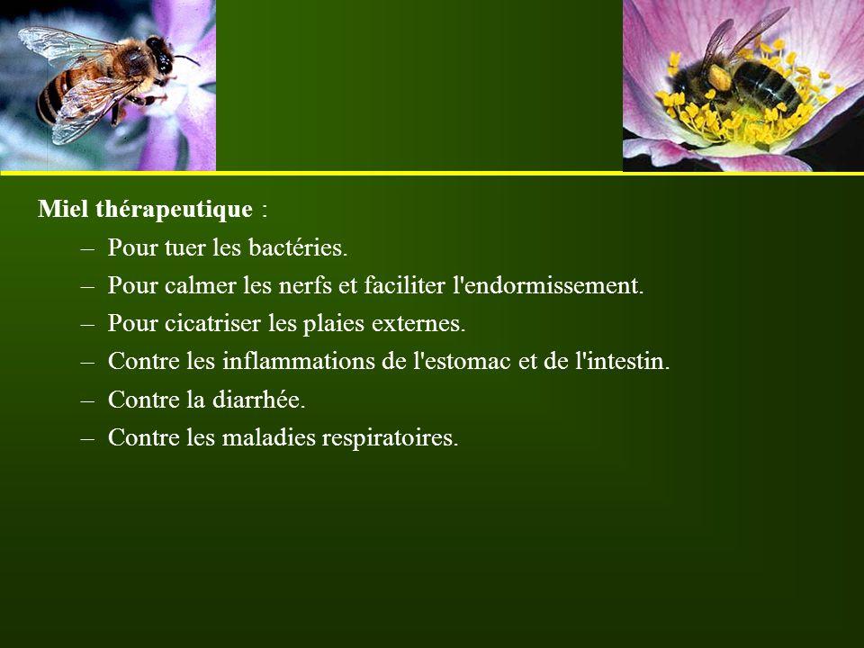 Miel thérapeutique : Pour tuer les bactéries. Pour calmer les nerfs et faciliter l endormissement.