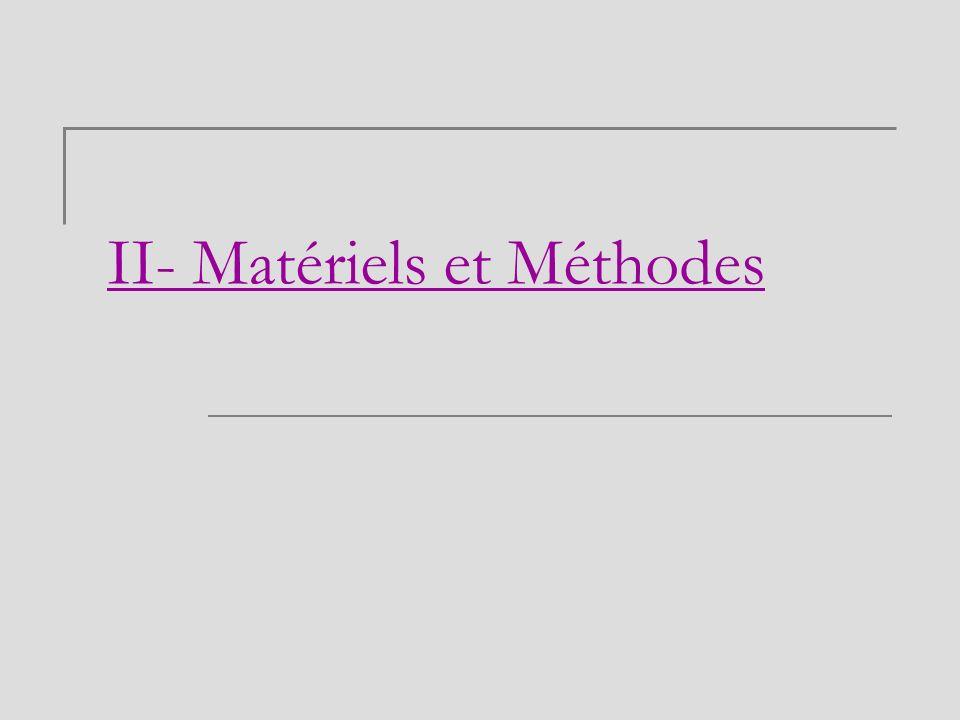 II- Matériels et Méthodes