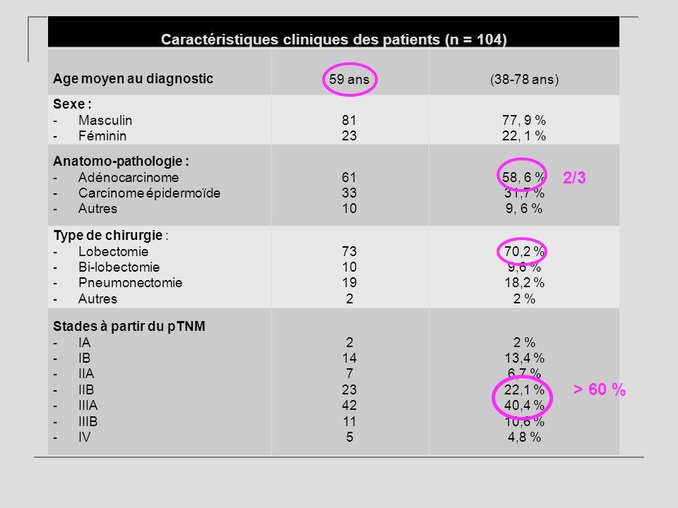 Caractéristiques cliniques des patients (n = 104)