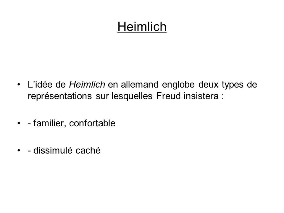 Heimlich L'idée de Heimlich en allemand englobe deux types de représentations sur lesquelles Freud insistera :