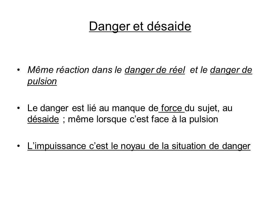 Danger et désaide Même réaction dans le danger de réel et le danger de pulsion.