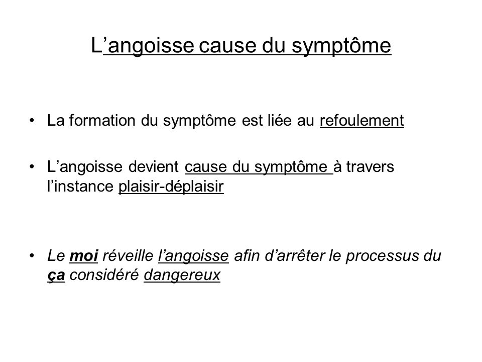 L'angoisse cause du symptôme