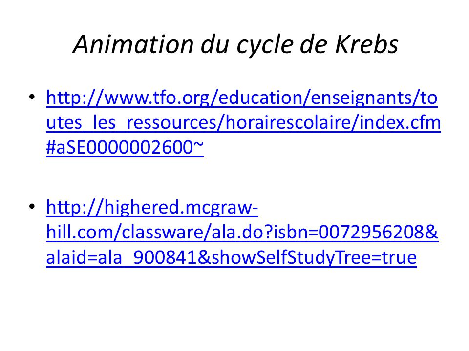 Animation du cycle de Krebs