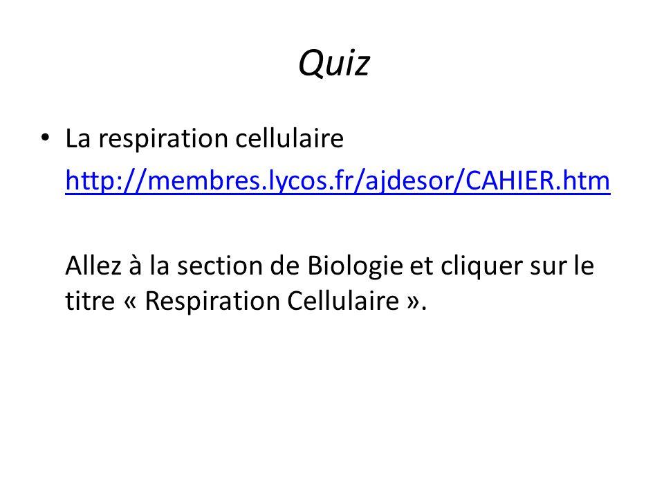 Quiz La respiration cellulaire