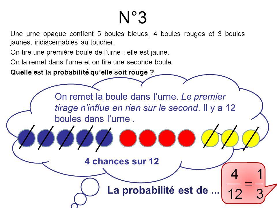 N°4 La probabilité est de ... Après le premier tirage