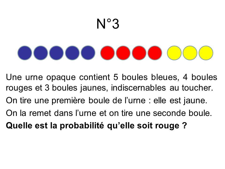 N°4 Une urne opaque contient 5 boules bleues, 4 boules rouges et 3 boules jaunes, indiscernables au toucher.
