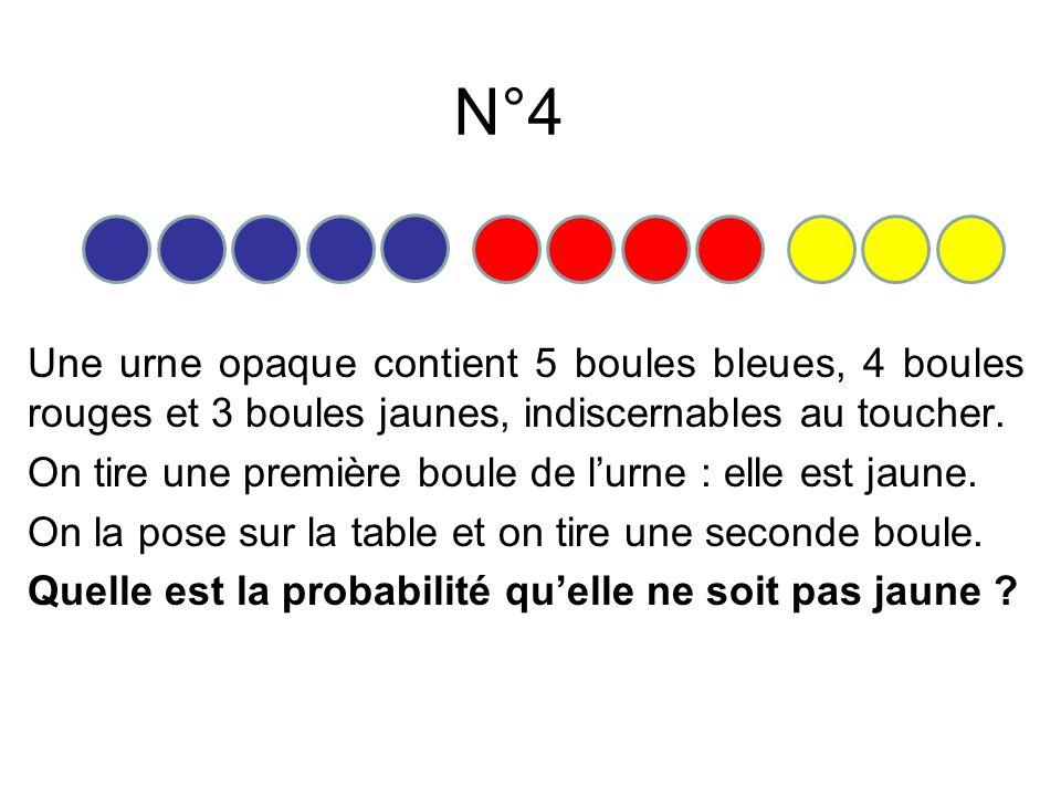 N°5 On lance un dé pipé à six faces numérotées de 1 à 6. La probabilité d'obtenir « 1 » est 0,2. Celle d'obtenir « 6 » est égale à 0,4.