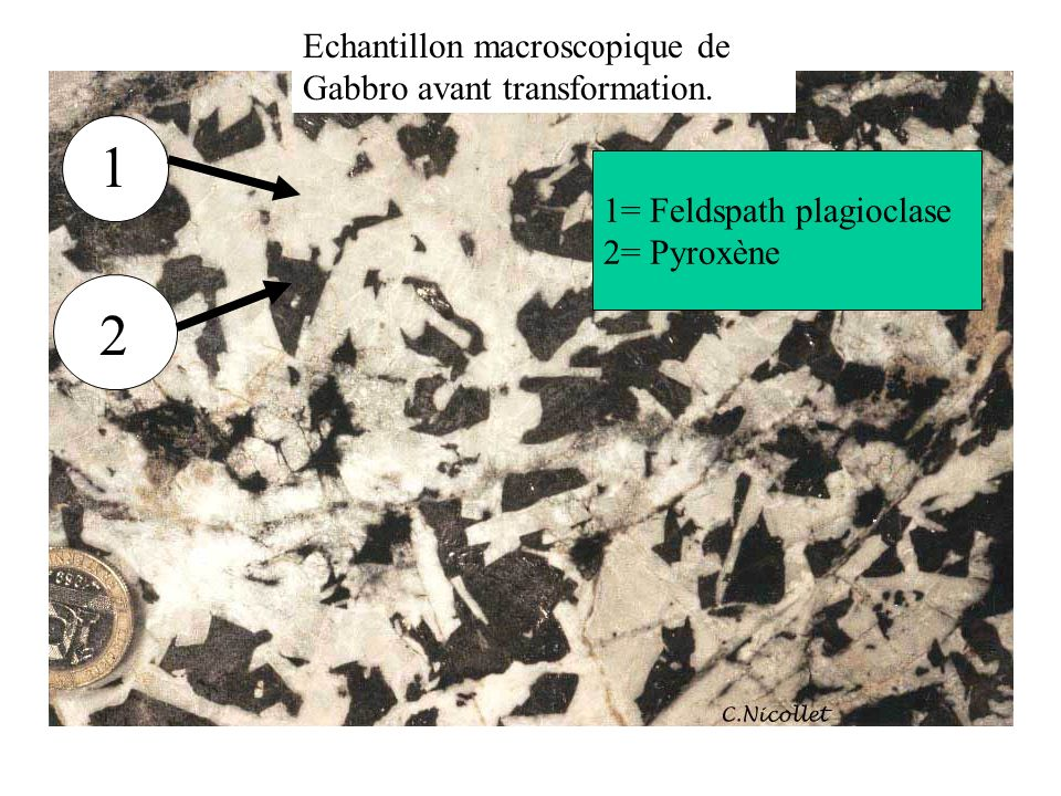 1 2 Echantillon macroscopique de Gabbro avant transformation.