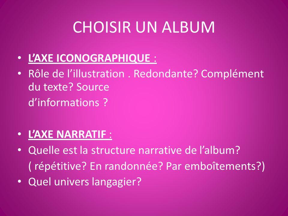 CHOISIR UN ALBUM L'AXE ICONOGRAPHIQUE :
