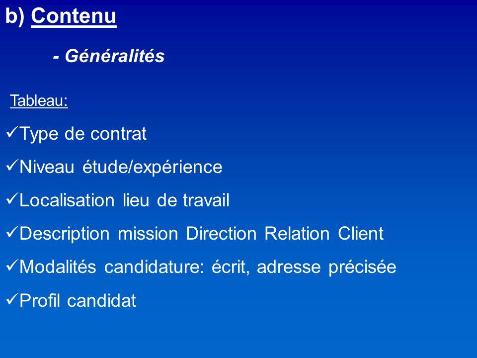 b) Contenu - Généralités Tableau: Type de contrat
