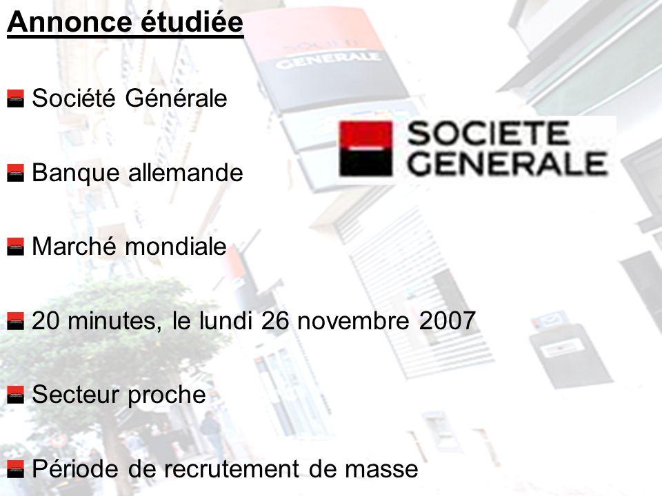 Annonce étudiée Société Générale Banque allemande Marché mondiale