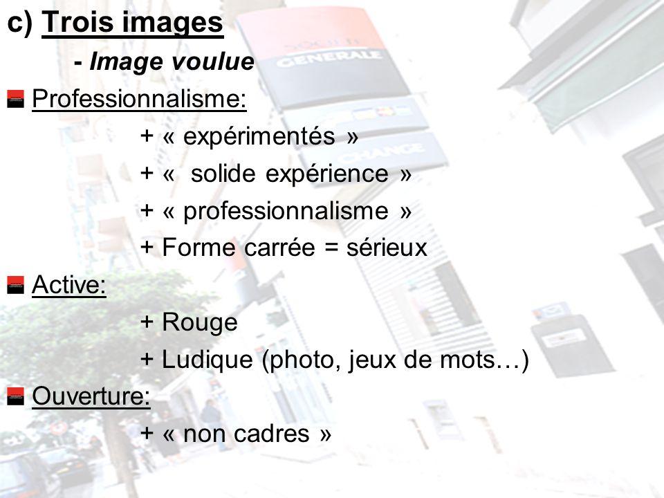 c) Trois images - Image voulue Professionnalisme: + « expérimentés »