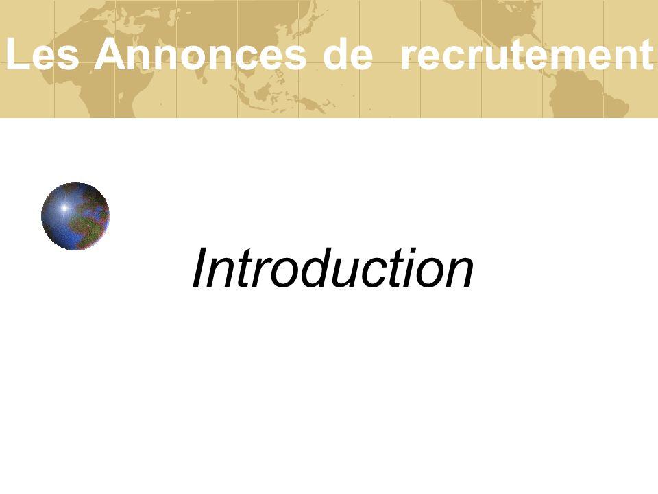 Les Annonces de recrutement