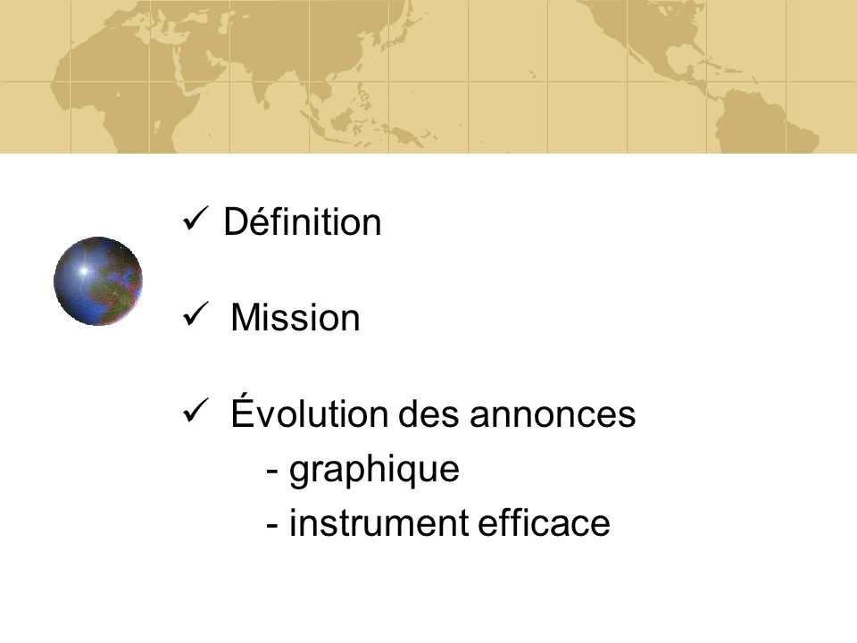 Définition Mission Évolution des annonces - graphique - instrument efficace