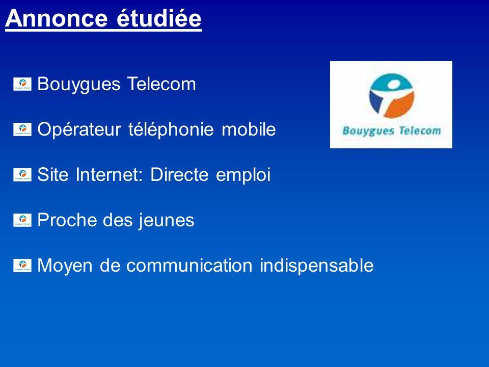 Annonce étudiée Bouygues Telecom Opérateur téléphonie mobile