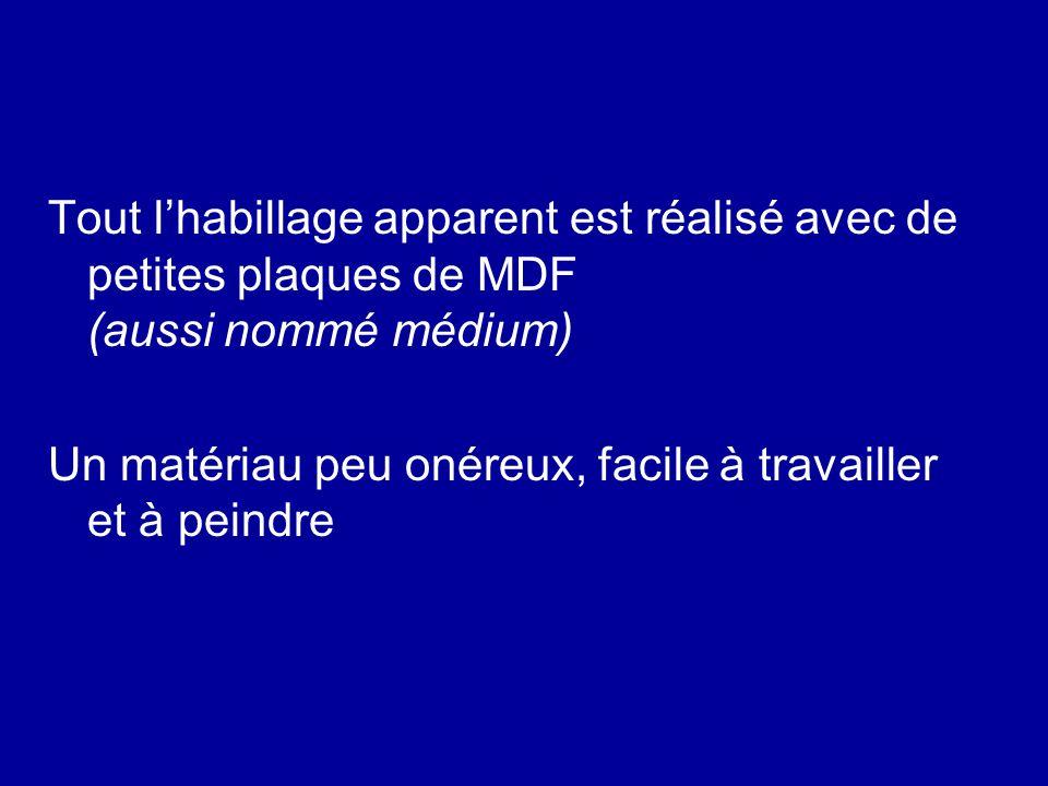 Tout l'habillage apparent est réalisé avec de petites plaques de MDF (aussi nommé médium)