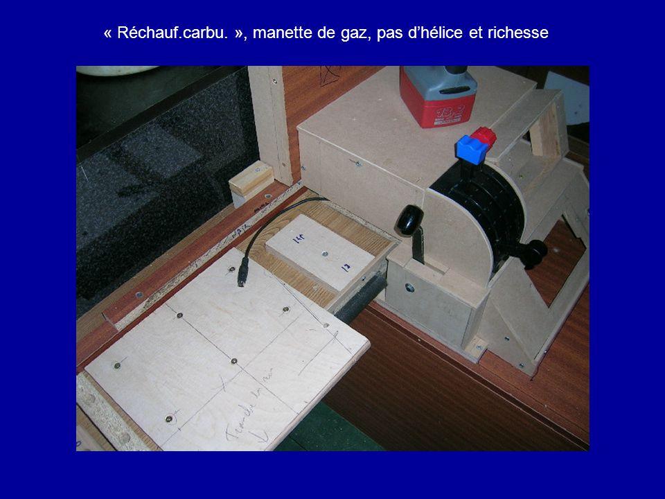 « Réchauf.carbu. », manette de gaz, pas d'hélice et richesse