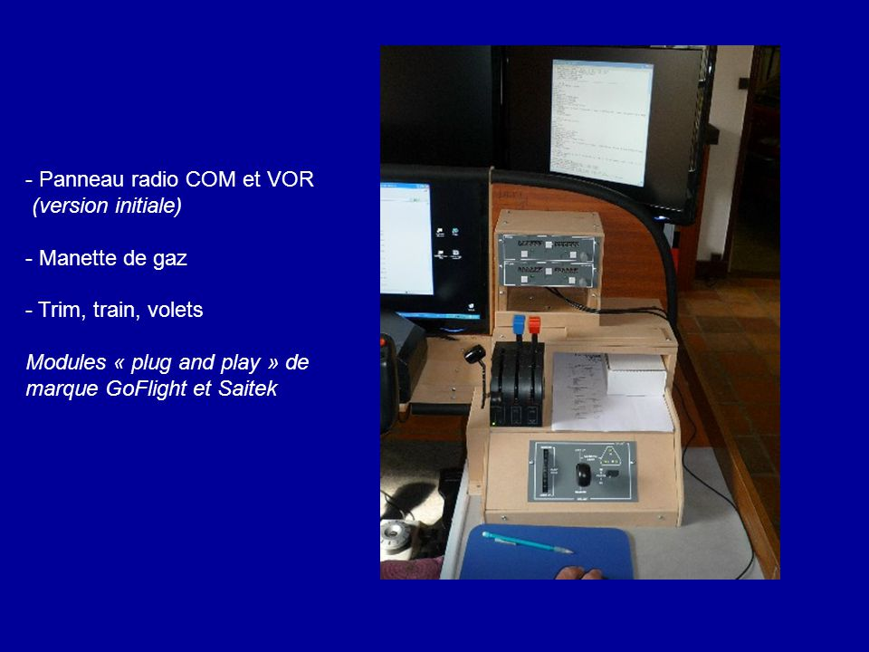 - Panneau radio COM et VOR