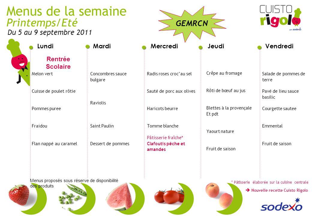 Du 5 au 9 septembre 2011 Rentrée Scolaire Melon vert