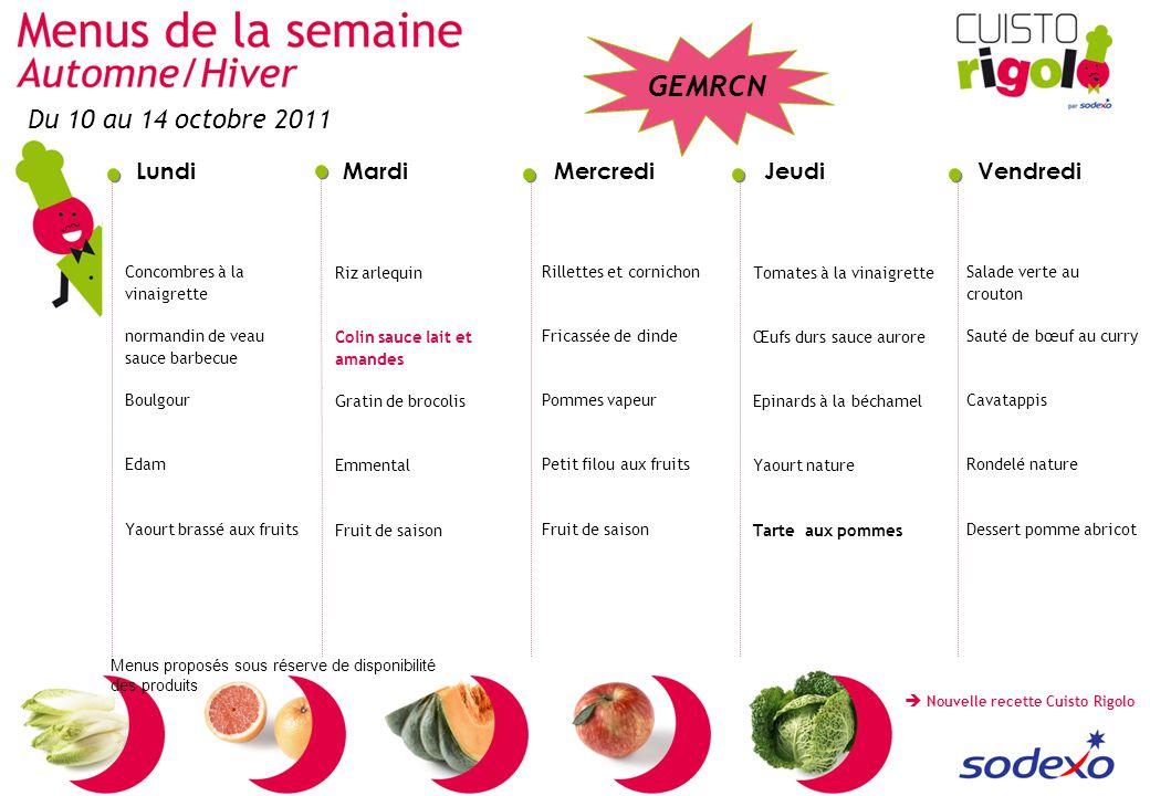 Du 10 au 14 octobre 2011 Concombres à la vinaigrette