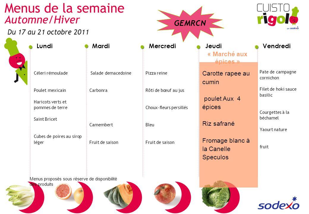 Du 17 au 21 octobre 2011 « Marché aux épices » Carotte rapee au cumin
