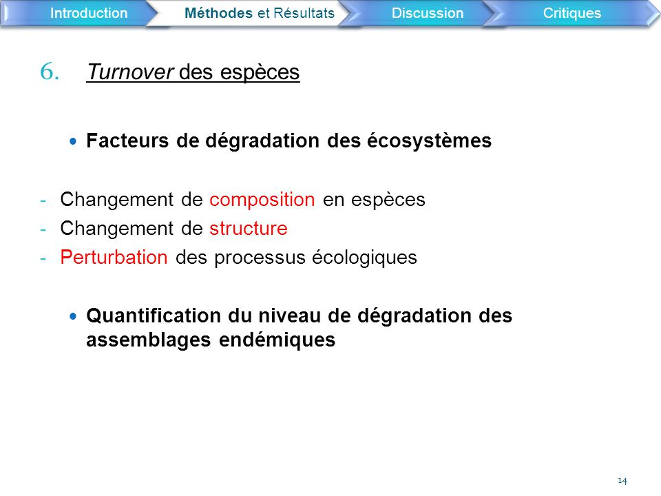 6. Turnover des espèces Facteurs de dégradation des écosystèmes