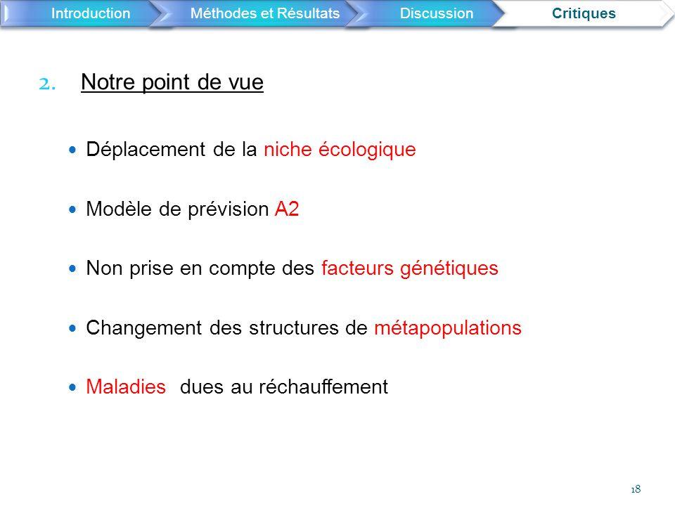 2. Notre point de vue Déplacement de la niche écologique