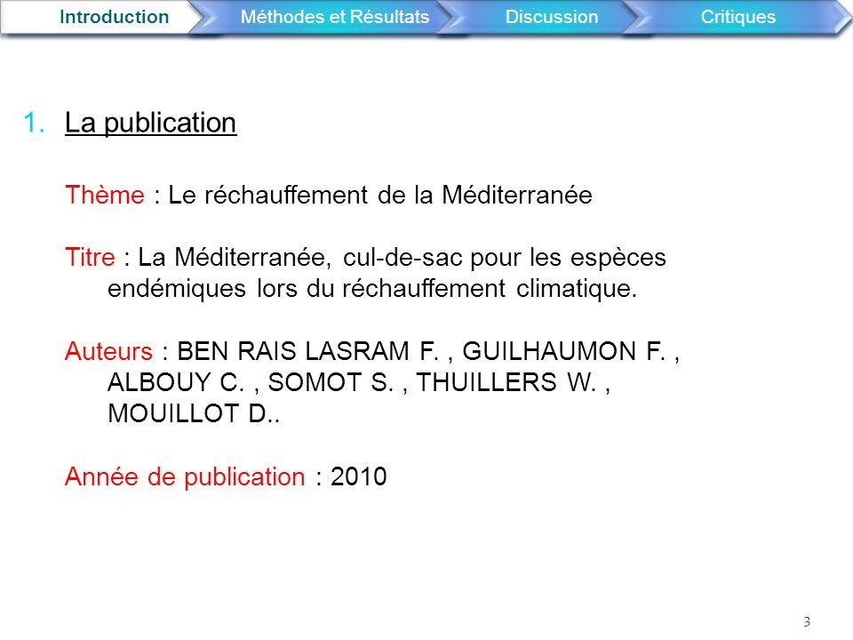 La publication Thème : Le réchauffement de la Méditerranée
