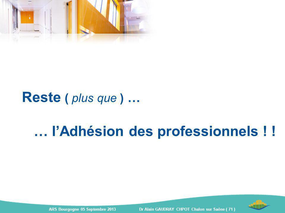 Reste ( plus que ) … … l'Adhésion des professionnels ! !