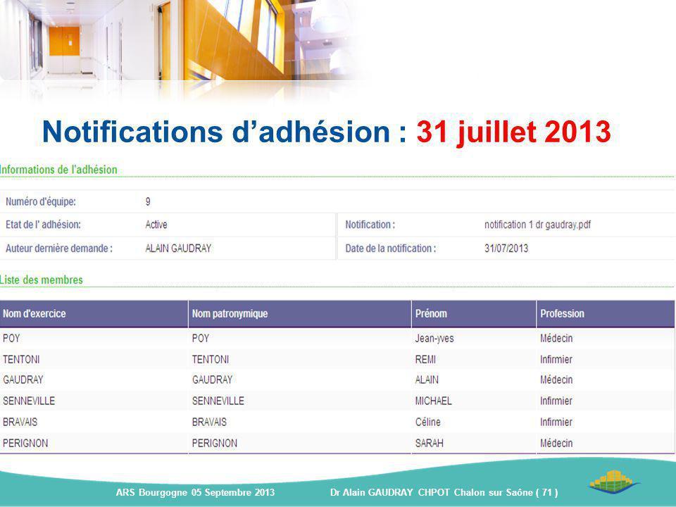 Notifications d'adhésion : 31 juillet 2013