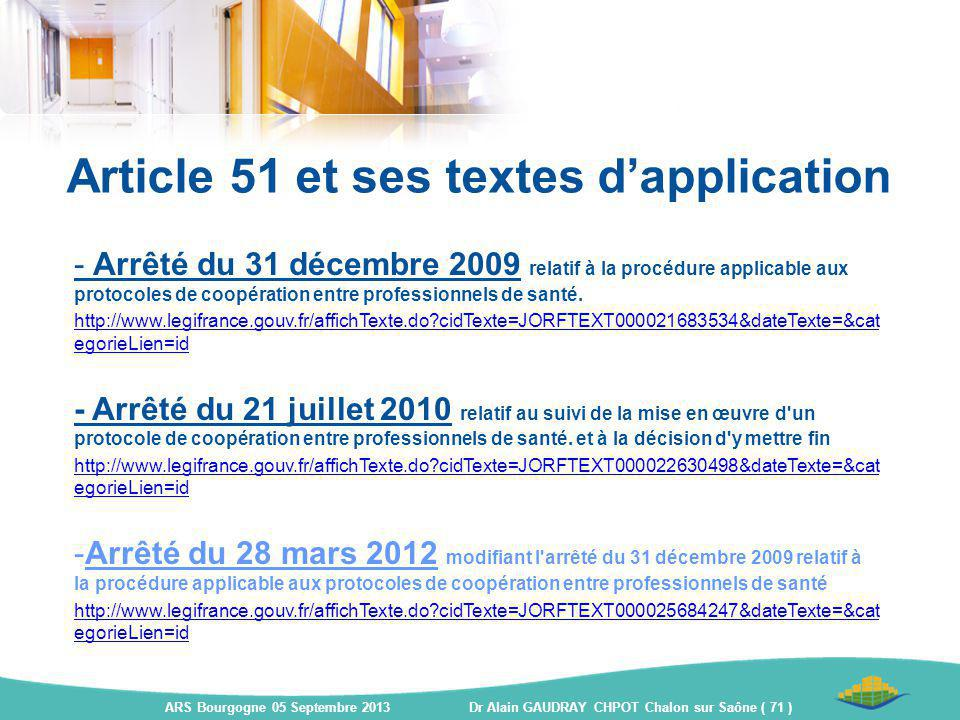 Article 51 et ses textes d'application