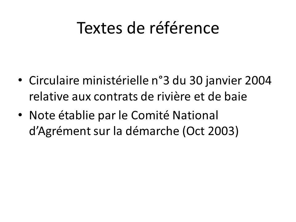 Textes de référence Circulaire ministérielle n°3 du 30 janvier 2004 relative aux contrats de rivière et de baie.