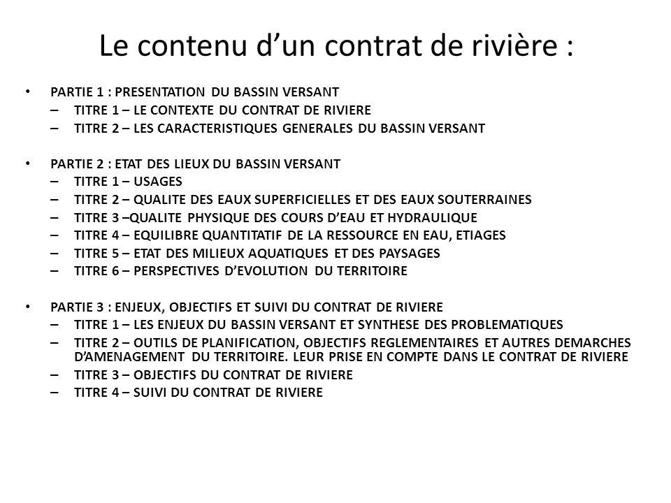 Le contenu d'un contrat de rivière :