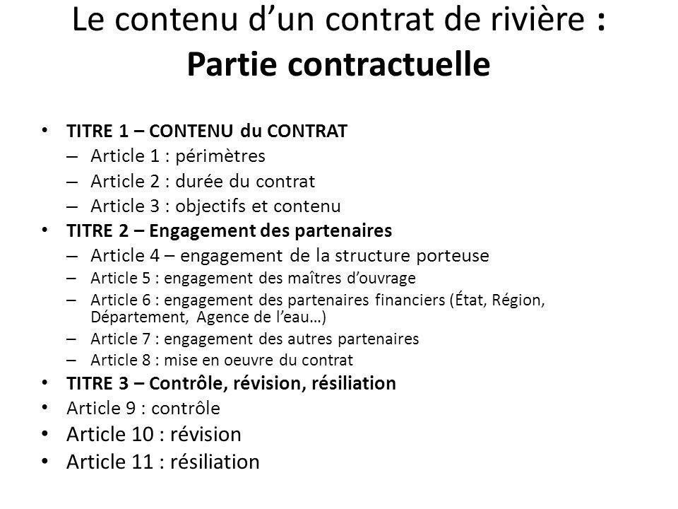 Le contenu d'un contrat de rivière : Partie contractuelle