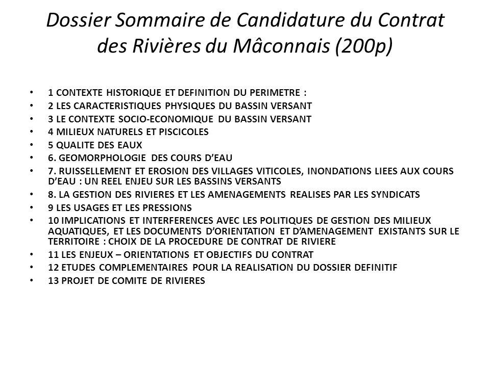 Dossier Sommaire de Candidature du Contrat des Rivières du Mâconnais (200p)