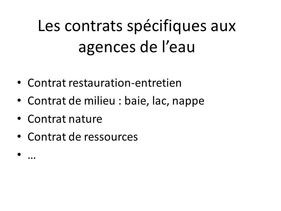 Les contrats spécifiques aux agences de l'eau