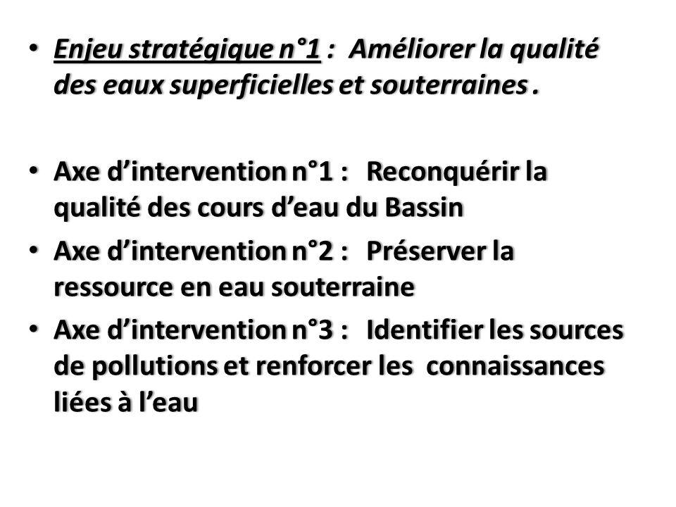 Enjeu stratégique n°1 : Améliorer la qualité des eaux superficielles et souterraines .