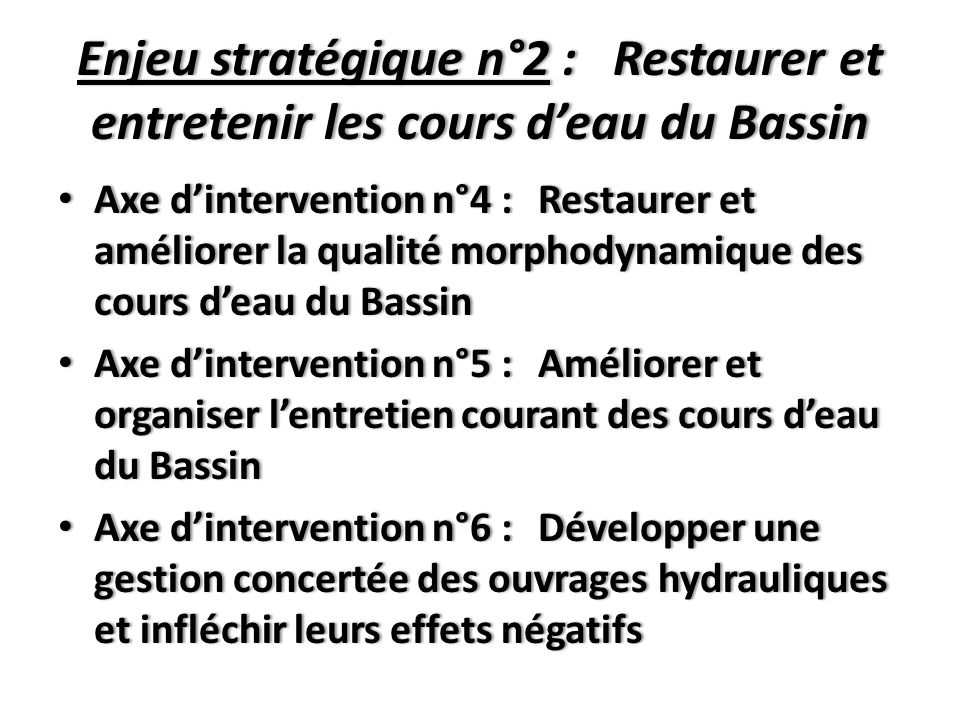 Enjeu stratégique n°2 : Restaurer et entretenir les cours d'eau du Bassin