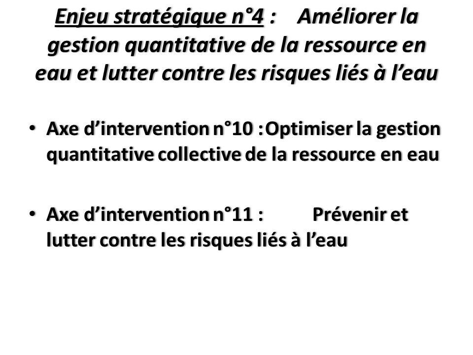 Enjeu stratégique n°4 : Améliorer la gestion quantitative de la ressource en eau et lutter contre les risques liés à l'eau