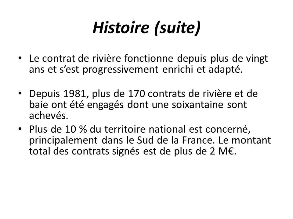 Histoire (suite) Le contrat de rivière fonctionne depuis plus de vingt ans et s'est progressivement enrichi et adapté.