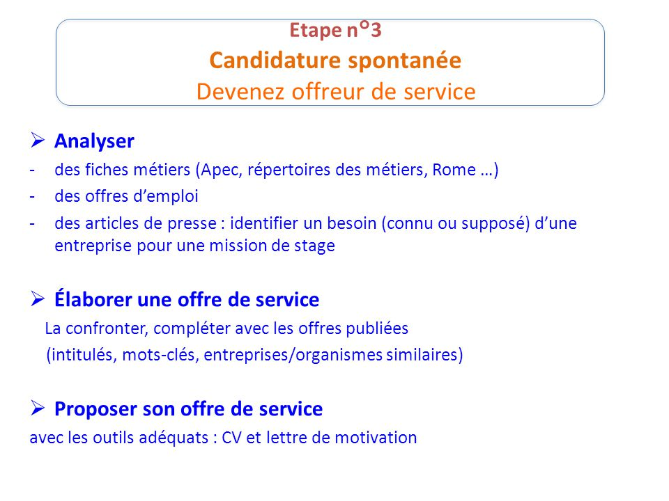 Etape n°3 Candidature spontanée Devenez offreur de service