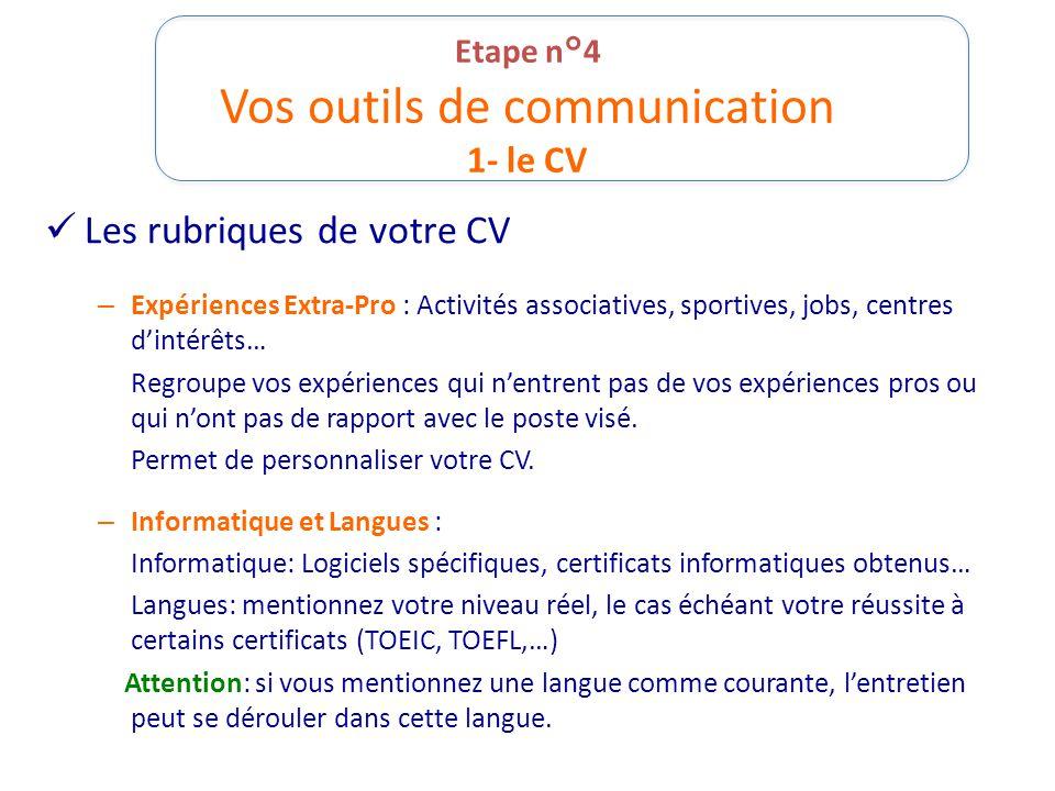 Etape n°4 Vos outils de communication 1- le CV