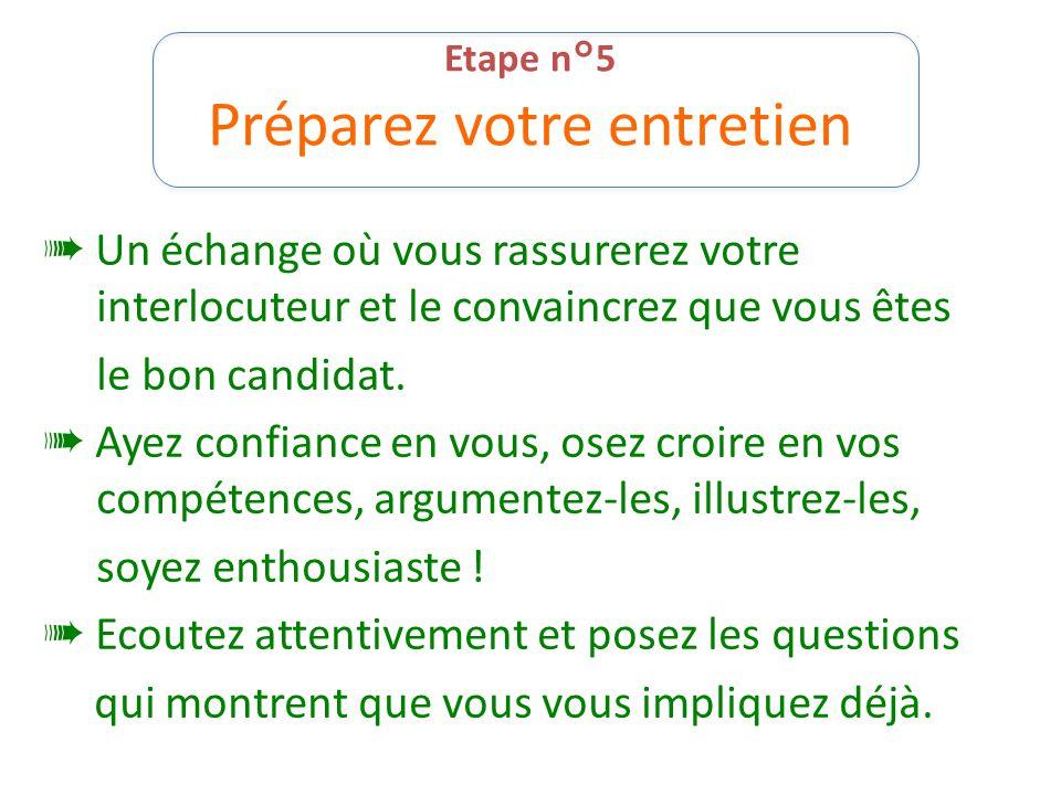 Etape n°5 Préparez votre entretien