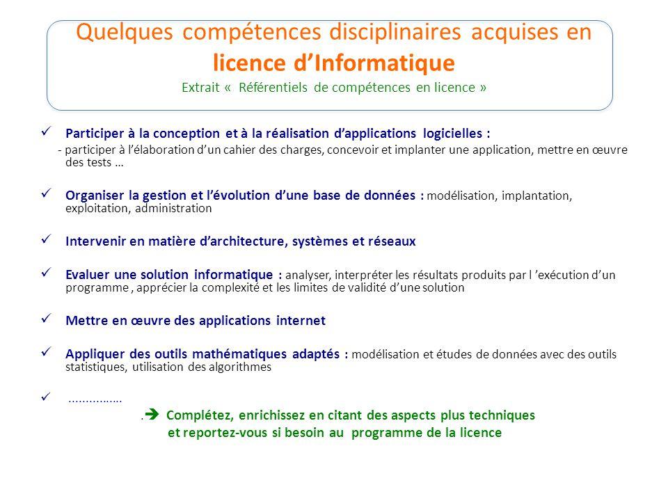 Quelques compétences disciplinaires acquises en licence d'Informatique Extrait « Référentiels de compétences en licence »