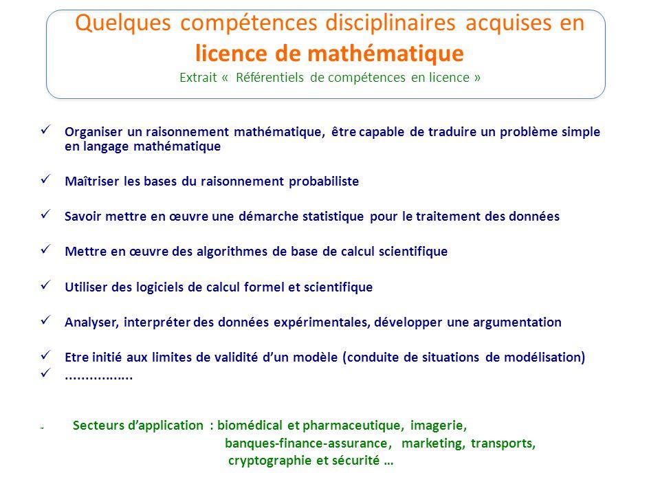 Quelques compétences disciplinaires acquises en licence de mathématique Extrait « Référentiels de compétences en licence »