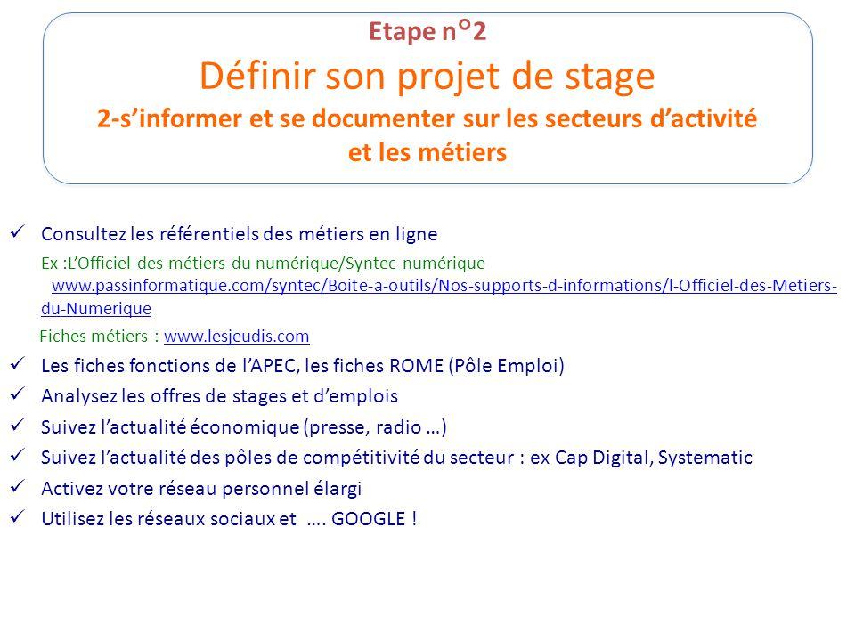 Etape n°2 Définir son projet de stage 2-s'informer et se documenter sur les secteurs d'activité et les métiers