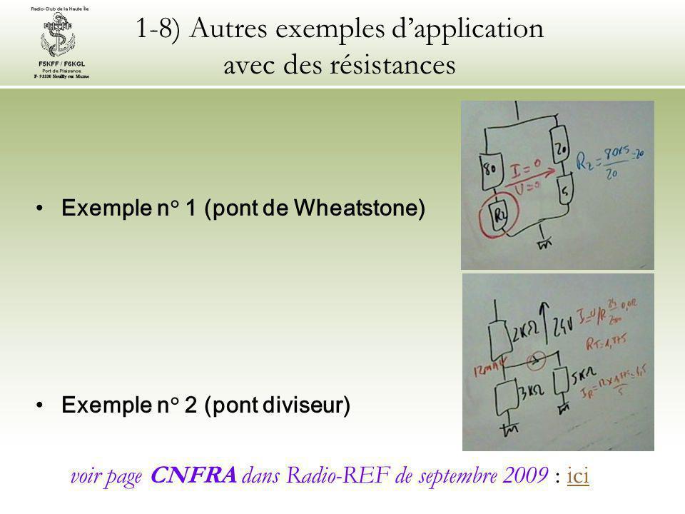 1-8) Autres exemples d'application avec des résistances