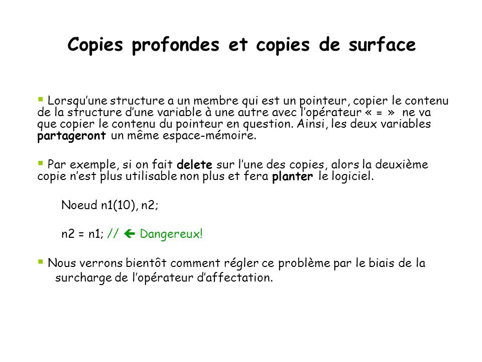 Copies profondes et copies de surface