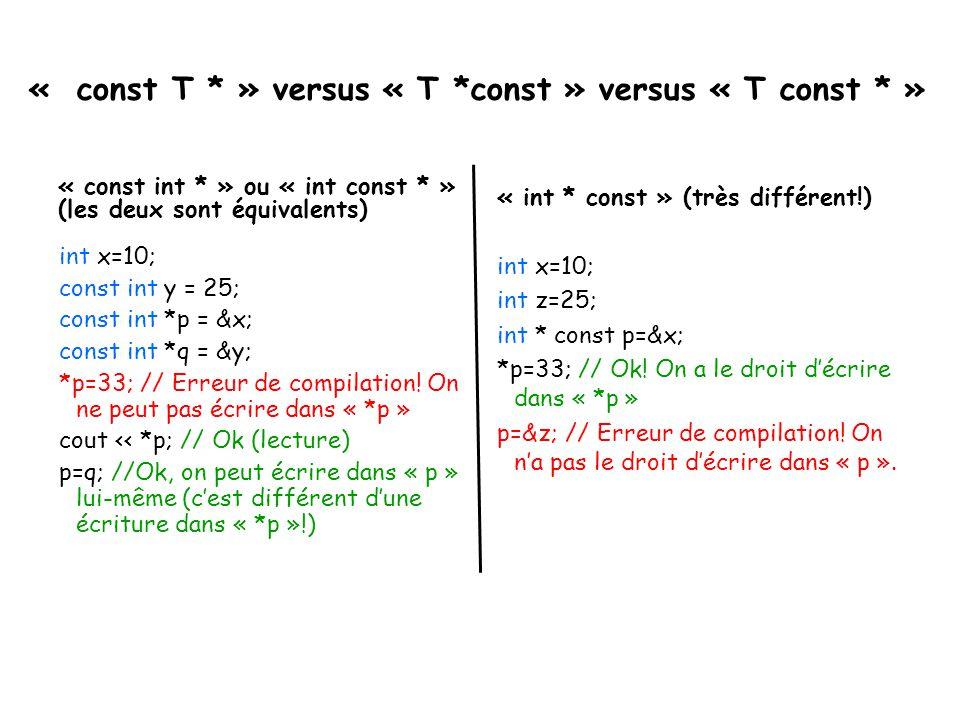 « const T * » versus « T *const » versus « T const * »
